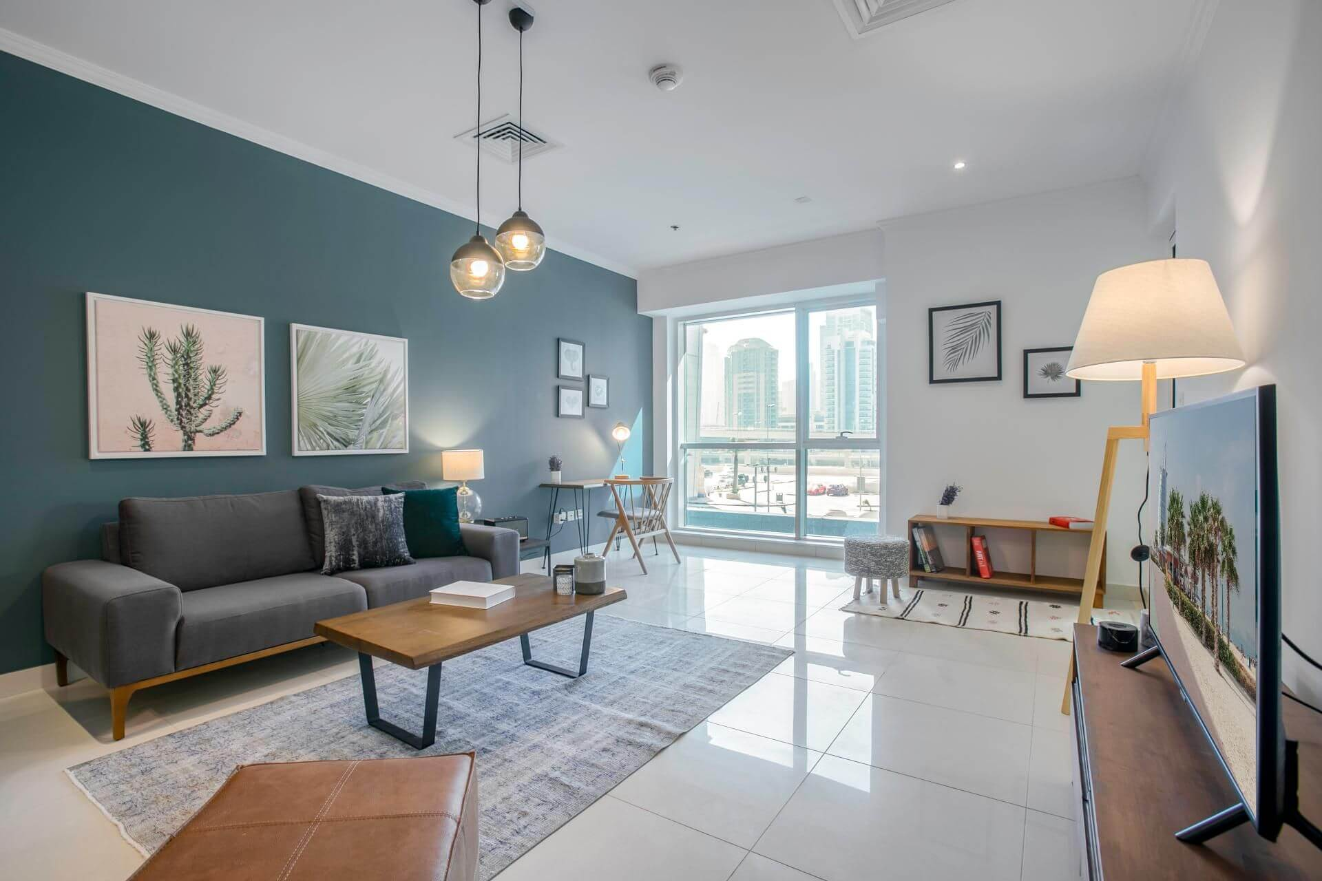 bright and spacious living room in Dubai designed by the property management company Blueground