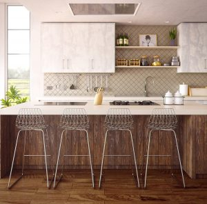 creative wallpaper warm tone kitchen with metallic bar stools