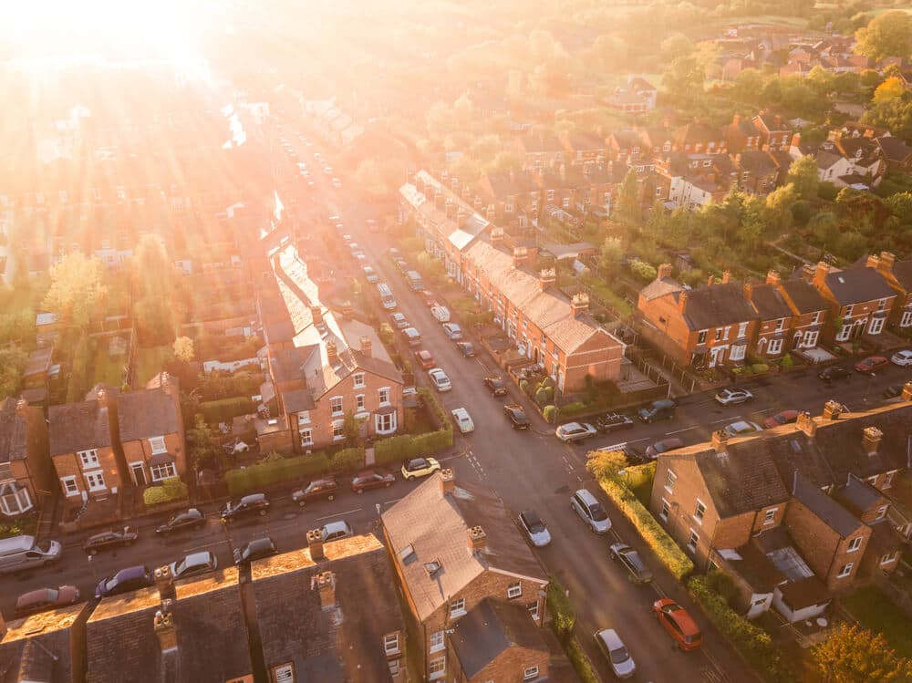 aerial view of london neighborhood at sunset